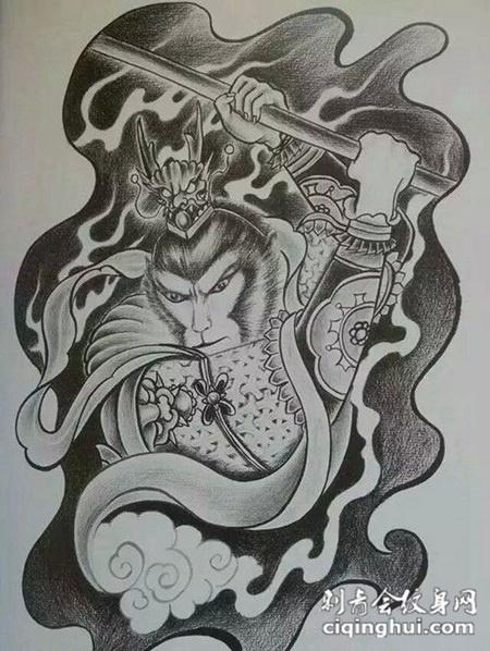 黑白手绘斗战胜佛纹身图案大全图片