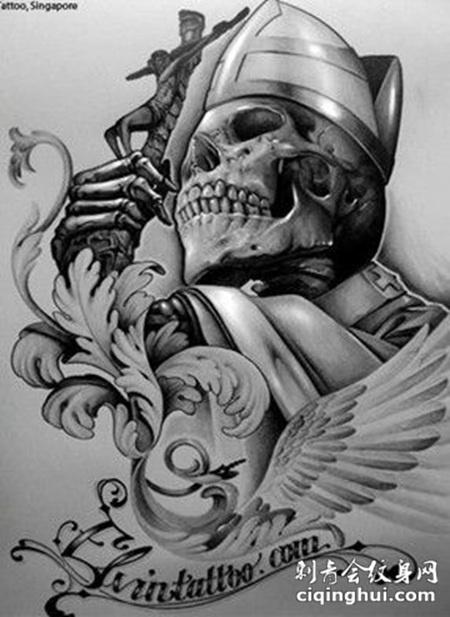 素描恶魔翅膀纹身图案大全