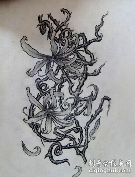女生彼岸花纹身手稿图片精选