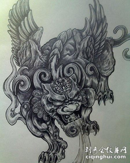 霸气貔貅纹身手稿经典图案