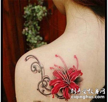 女生肩部彼岸花纹身图案大全