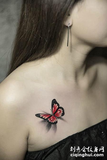 停留的美好,锁骨好看的d蝴蝶纹身图案