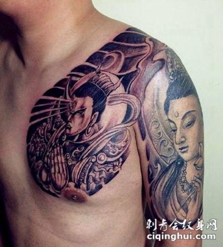 男生霸气二郎神纹身图片欣赏