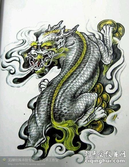 最时尚麒麟纹身手稿图案大全