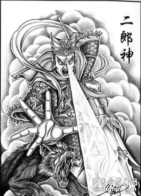 二郎神霸气纹身手稿素材图片