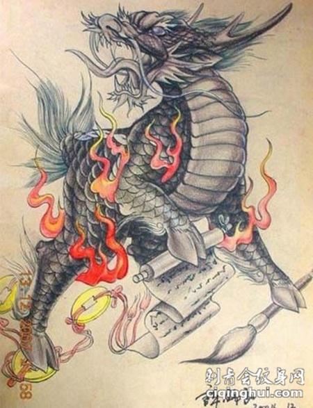 个性独特的麒麟纹身手稿图案大全