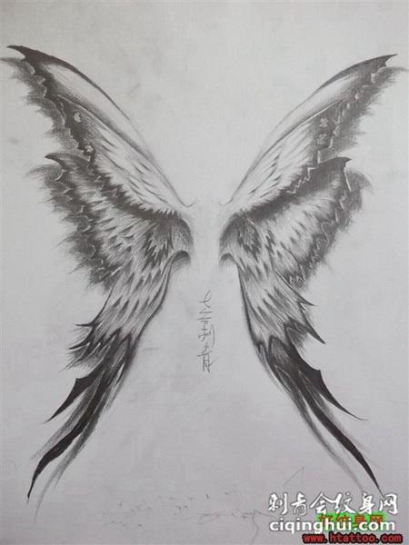 蝴蝶翅膀黑白d纹身图案手稿