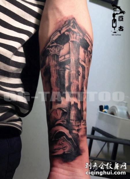 欧美建筑个性小臂纹身高清图案,您可能还会喜欢手贴情侣最潮纹身图案图片