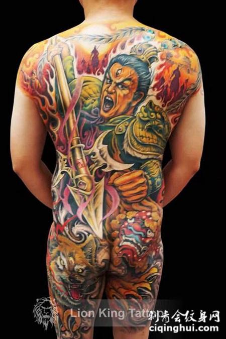 除魔卫道,满背二郎神彩绘纹身图案