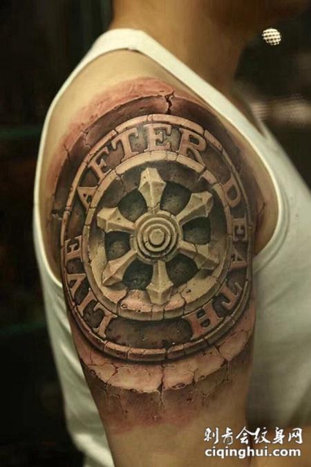 岁月刻印,手臂d石裂效果图腾纹身图案