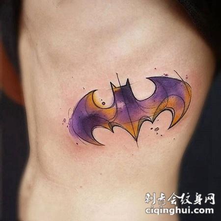 暗夜守护者,腰部蝙蝠侠图腾纹身图案