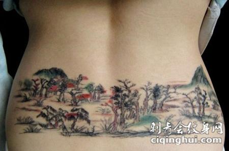 腰部工笔山水画纹身