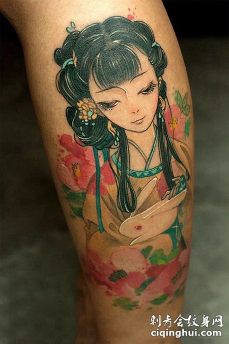 人月两团圆,小腿嫦娥玉兔彩绘纹身