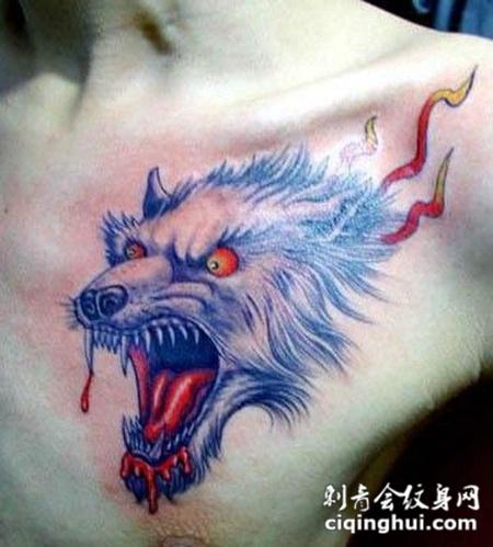 首页 纹身图案 动物 血狼  如果您喜欢现在这张胸口流血狼头纹身刺青