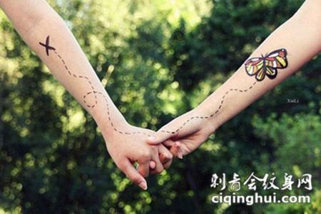 牢牢抓住手中的爱,手臂蝴蝶风筝创意情侣纹身