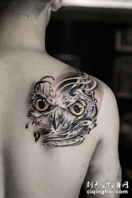 黑夜的守护者,后背猫头鹰创意纹身