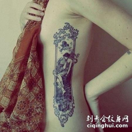 小女人的腰部小纹身图案展现个性