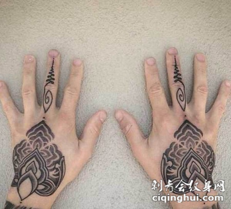 手背梵花个性纹身图案图片