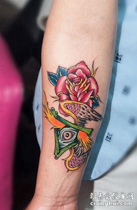 带刺玫瑰手臂纹身图案大全(图片编号:9658)_玫瑰花