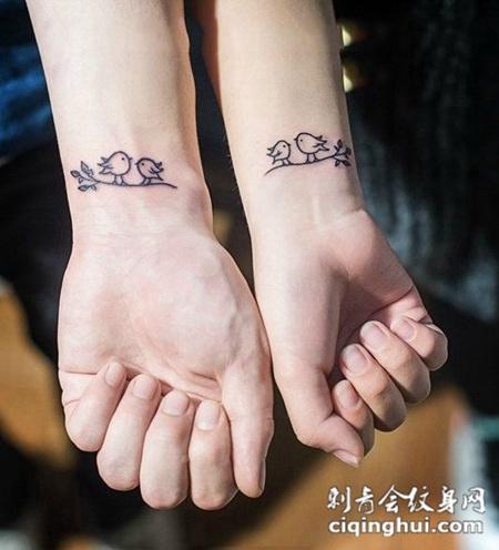 双宿双栖,情侣手腕可爱小鸟纹身(图片编号:13760)