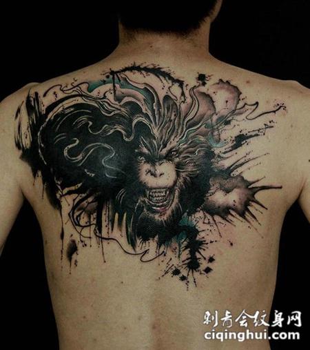 纹身黑豹齐天大圣孙悟空后背字体彩绘图案v纹身图片