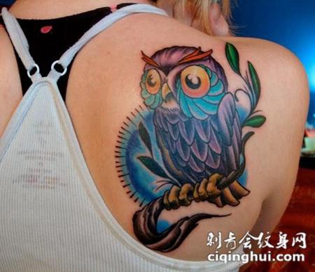 美女背部可爱的猫头鹰纹身图案