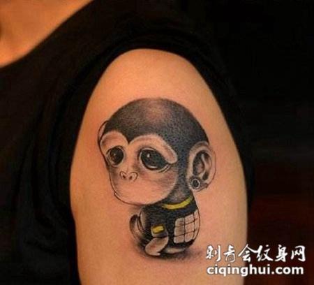 纹身可爱猴子图案图片