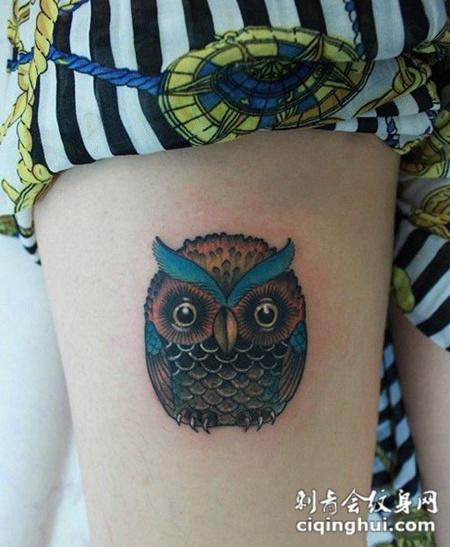 美腿彩色猫头鹰可爱纹身