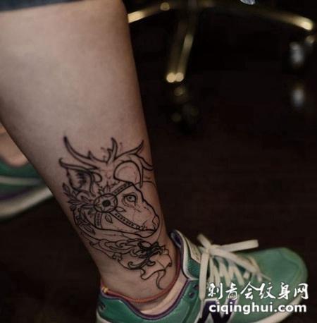 纹身图案大全脚踝男生图片