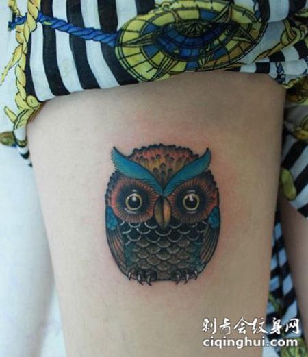 彩色猫头鹰纹身图案