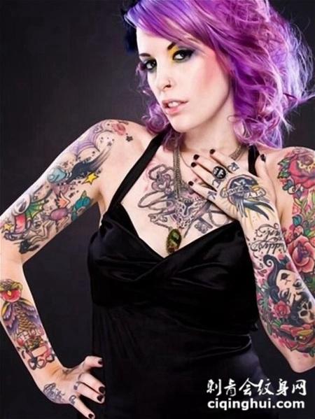 欧美性感美女纹身图片