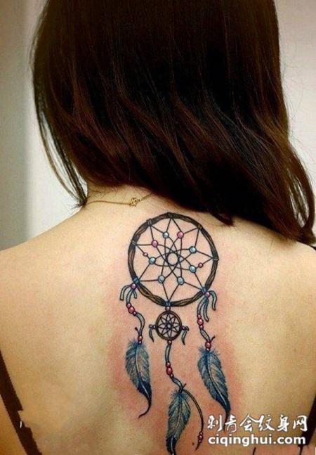 女生后背好看的捕梦网纹身图案