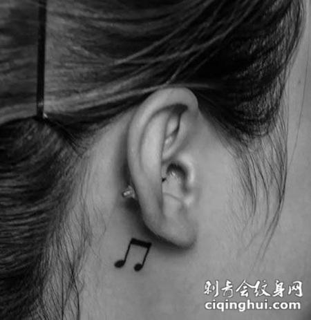 耳后音符图案纹身图片