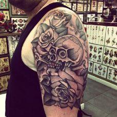 骷髅玫瑰纹身图案合辑