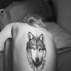纹身狼图案女生图片素材