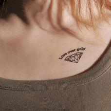 锁骨钻石纹身图片大全