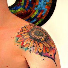 向日葵纹身图片手臂部分