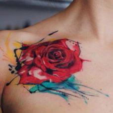 红色花纹身图片玫瑰素材