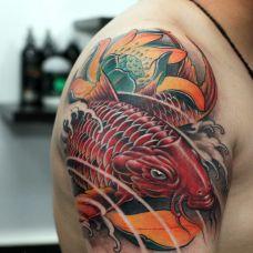 彩色鱼纹身图案个性图集