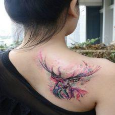 女性背部彩色泼墨羚羊纹身图案