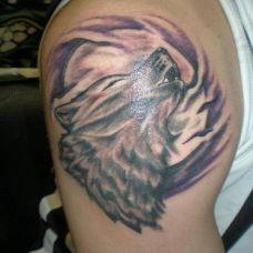个性的手臂狼纹身图片