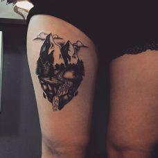 旅途人生,大腿山水画个性纹身