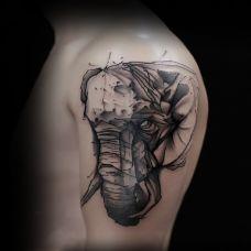 自然的注视,手臂泼墨大象个性纹身