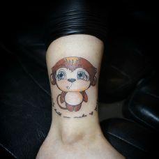 卡通小猴,腿部猴子纹身图案
