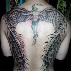 天使纹身图案后背图片