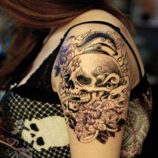 个性的手臂骷髅纹身图案大全