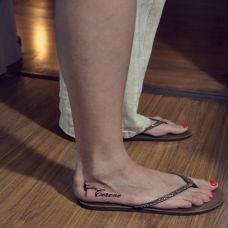 女性脚部小清新芭蕾女孩英文刺青图案