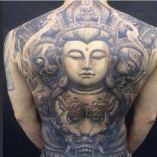个性观音满背纹身图片写真