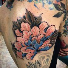 满背牡丹纹身图案图片