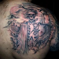 满背骷髅纹身图片大全